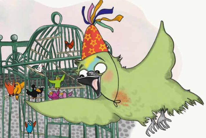 """Bildurklipp ur boken """"Barbro och tjuven"""". Bilden föreställer en glad papegojan Barbro som flyger med en partyhatt på huvudet."""
